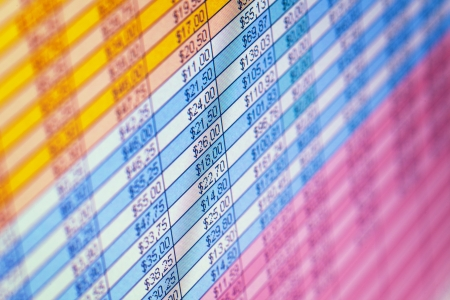 The financial statements on the screen close up background Stock Photo - 20202484