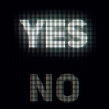 rejection: Yes and no on the computer screen close up. Confirm and rejection concept Stock Photo