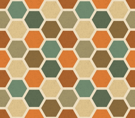 hexagonal shaped: Hexagonal vintage seamless pattern - color scraps on a beige background