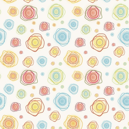 Abstract vintage seamless kawaii pattern - color curves circles on a light background  Vector