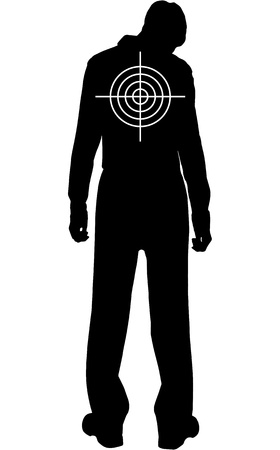 gun silhouette:  silhouette of downcast man with target on his back