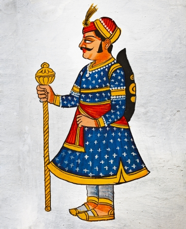 rajasthan: Sample of traditional mural - image of the maharaja  India Udaipur