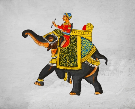 ancient elephant: Sample of traditional mural - image of the maharaja of riding on an elephant  India Udaipur