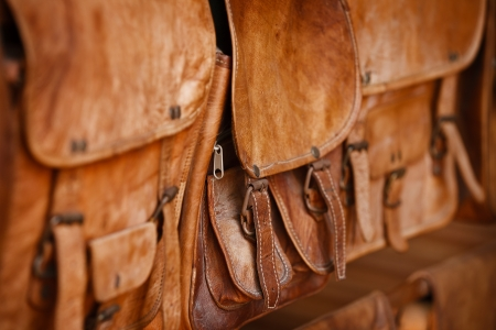 old leather: Leather goods - handbags in the open market