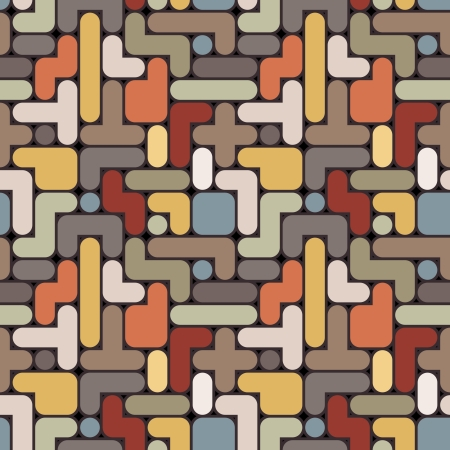 Vector abstract tetris background - vintage seamless color pattern Vector