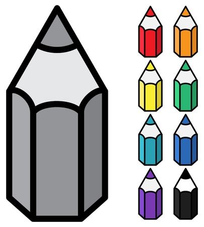 primitive tools: Vector - simple color pencils on white background