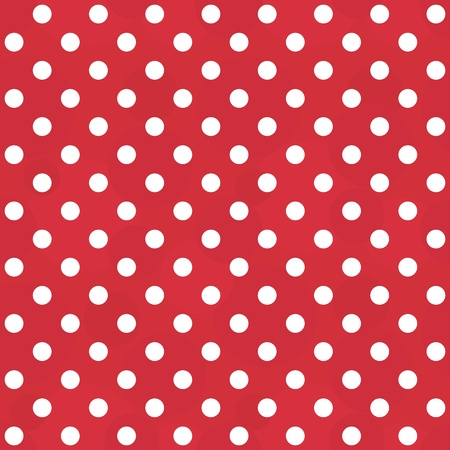 Vector abstract background - vintage seamless polka dots white and red pattern Vector