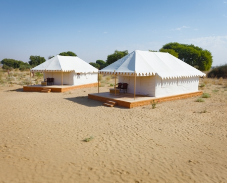 Camp for tourists in the hot indian desert photo