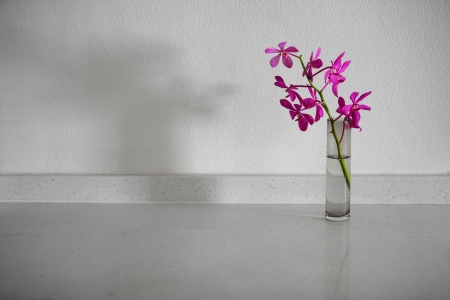 Orchid flowers in a simple vase on a white stone table photo
