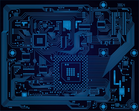 technological: Hi-tech dark blue industrial electronic circuit board vector abstract background