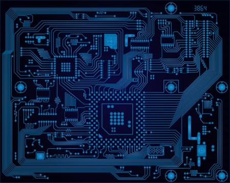 Hi-tech donkerblauw industriële elektronische printplaat vector abstracte achtergrond