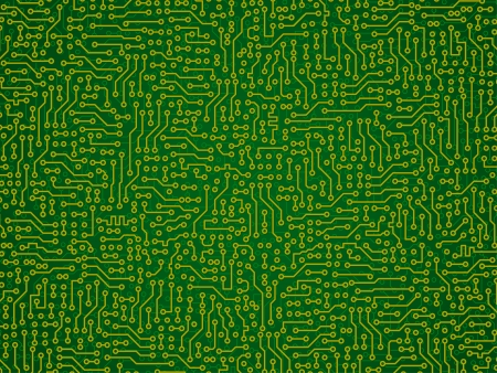 circuitry: Green abstract vector background - electronic circuit board pattern Illustration
