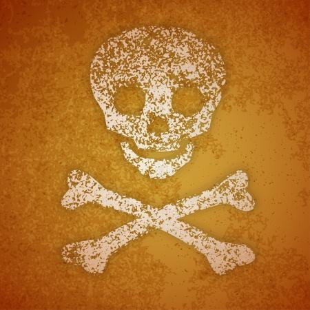 Vector illustration - skull and crossbones on a grunge wall Stock Vector - 22389193
