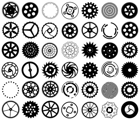 Vector set of black silhouettes of gears and other round objects Vector