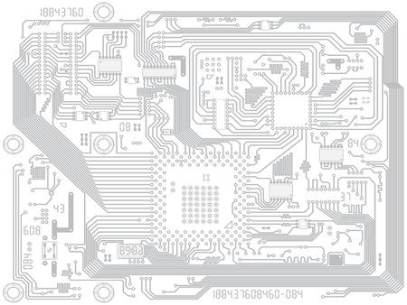回路基板ベクトル コンピューター図面 - チップを搭載した電子マザーボード。業界の技術的な背景