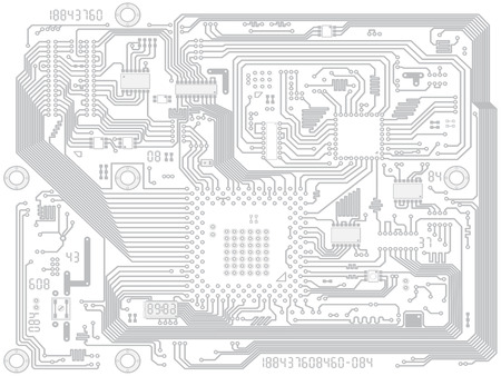 Circuit board vector computer drawing - electronic motherboard with chips. Industry technical background Vettoriali