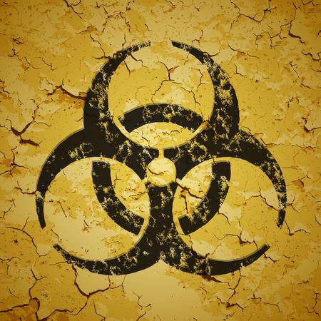 biological waste: Emblema negro pintado en la pared del grunge - vector logo de riesgo biol�gico
