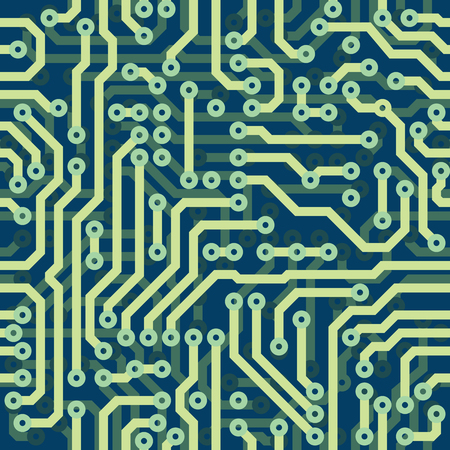 High tech schematic seamless vector texture - blue electronic circuit board Illustration