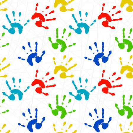 iridescent: Seamless texture with colorful prints of childrens hands