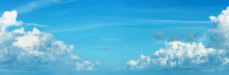 fluffy clouds: Panoramic skyscape with Cumulonimbus clouds - natural background Stock Photo