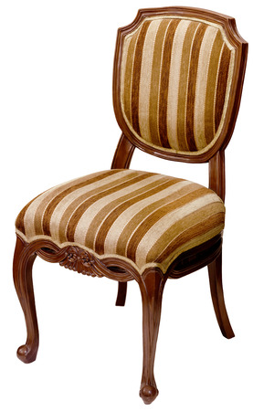 Old striped wooden chair isolated on white background photo