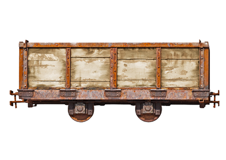 Vintage car for the narrow-gauge railway isolated on white background photo