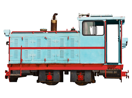 railway history: Vintage locomotive for a narrow-gauge railway isolated on white background