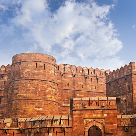 agra: The walls of the ancient Red Fort in India. Agra