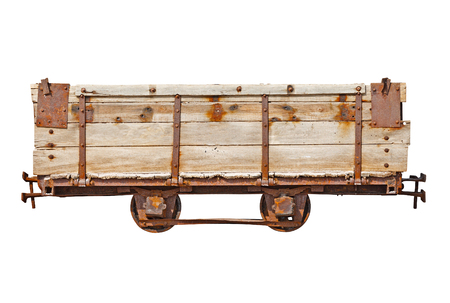 Vintage wooden car for the narrow-gauge railway isolated on white background photo