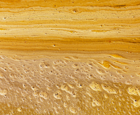 The yellow scum on the surface of dirty water - background