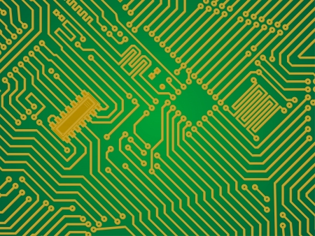 circuitboard: Hi-tech green and yellow industry electronics vector background Illustration