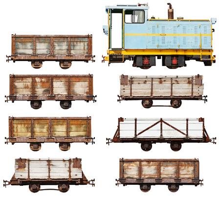 abandoned car: Set of vintage locomotive and cars isolated on white background