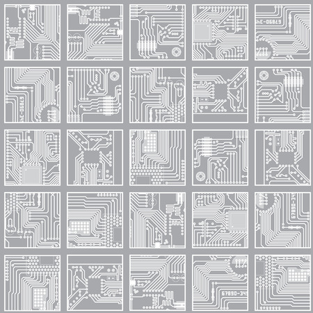 Seamless electronic pattern. Computer circuit board technology vector background eps8  イラスト・ベクター素材