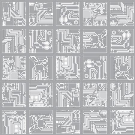 電子のシームレスなパターン。コンピューター回路基板技術ベクトル背景 eps8
