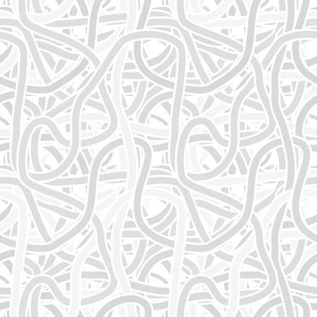 seamless monochrome gray pattern - continuous interlocking shapes like spaghetti Stock Photo
