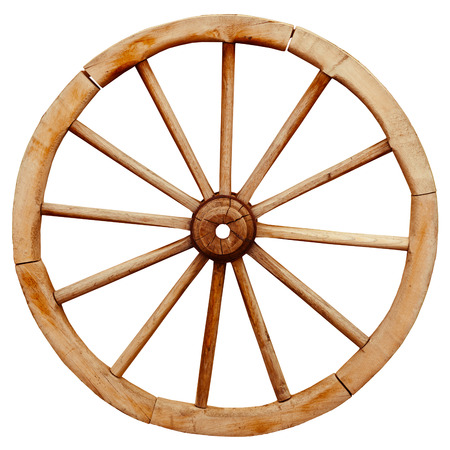 Ancient wooden grunge wagon wheel in country style isolated on a white background photo