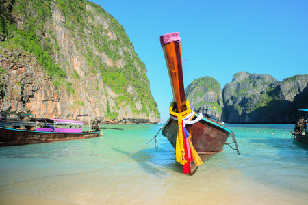 long tailed boat: Long tailed boat. Thailand Phi-Phi islands