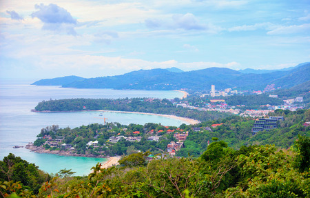 View to the few beaches of Phuket island from high viewpoint. Thailand. photo
