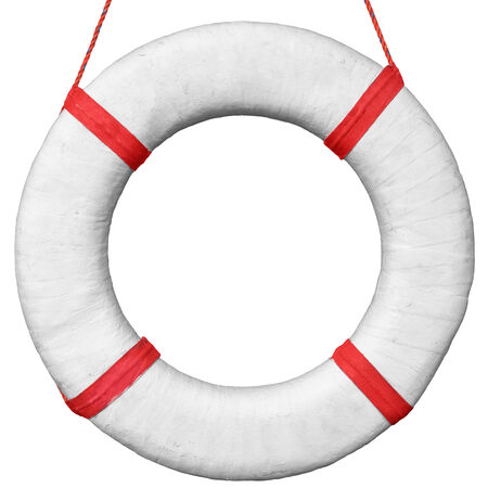 Old vintage lifebuoy with red stripes isolated on a white background photo