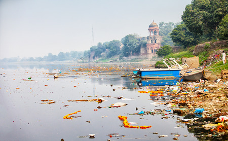polluted river: Bank of Yamuna river near the Taj Mahal. India, Agra