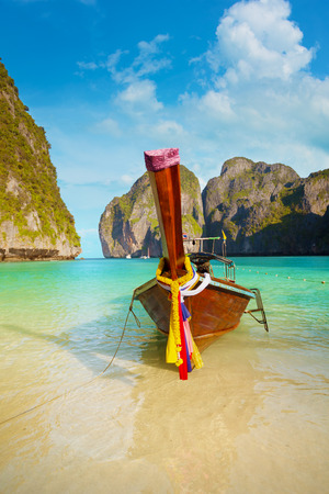 Traditional thai long tail boat, Thailand Phi-Phi island. photo