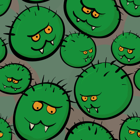 microbes: Seamless vector texture - stylized images of green microbes and viruses