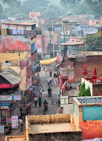 agra: AGRA, INDIA - CIRCA NOV 2012: The streets of the Indian city. Top view.