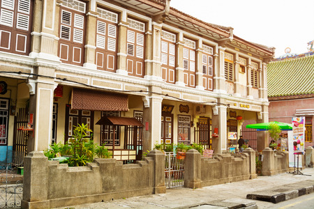 georgetown: MALAYSIA, PENANG, GEORGETOWN - CIRCA JUL 2014: Beautiful, Colonial style architecture is visible in this old, historical building. Editorial
