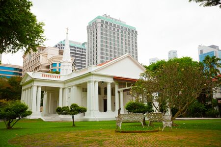 illuminator: SINGAPORE - 31 DEC 2014: Beautiful, colonial architecture and gardens of the Armenian Apostolic Church of St. Gregory the Illuminator Editorial