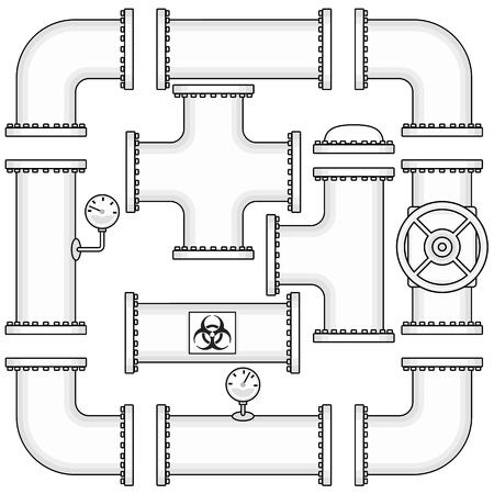industriales: Kit del vector para la construcción del gasoducto incluye tubos, tapones, válvulas, codos curva y manómetros