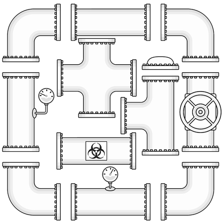 Zestaw wektora dla budowy rurociągu obejmują rur, zaślepki, zawory, kolanka krzywą i manometry