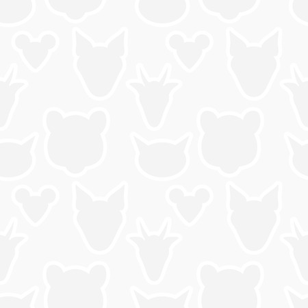 shapes cartoon: Animals heads silhouette seamless pattern. Vector light gray wallpaper texture