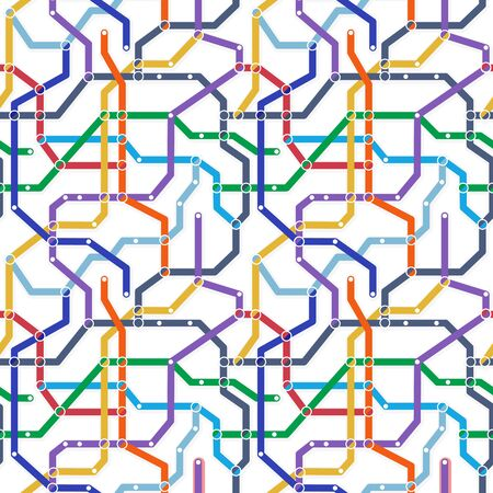 Color metro railway transport scheme on white background. Abstract seamless vector pattern. Simple map texture