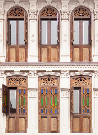 historical building: Oriental stained glass traditional windows in an historical building. Stock Photo